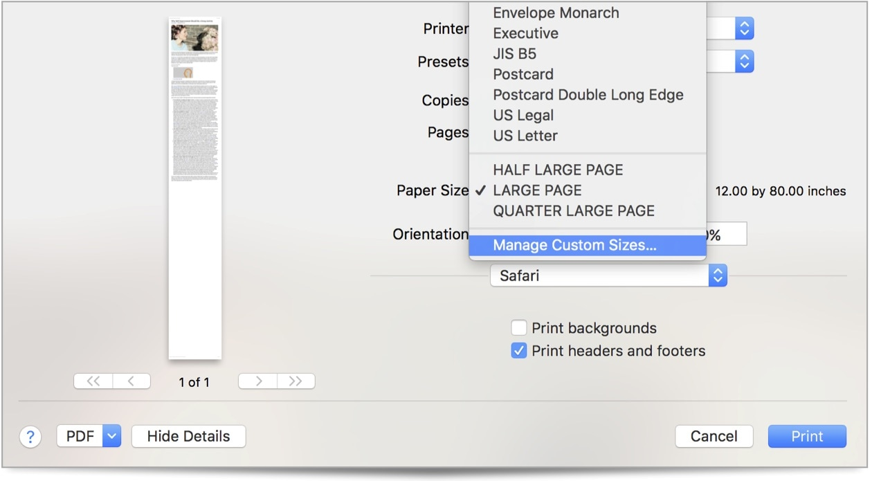 How to set up custom paper sizes in macOS.