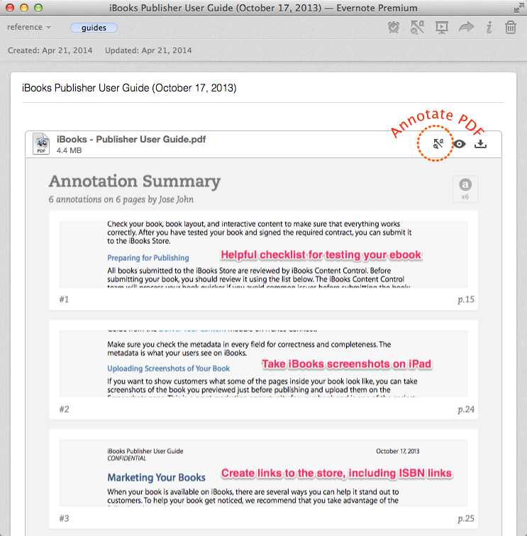 Annotation Summary feature in Evernote for Mac shows list of annotations in embedded PDFs