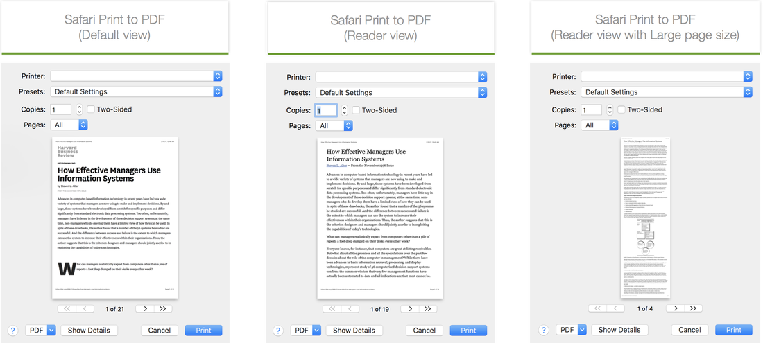 Shows the benefits of using Safari's Reader View and a large paper size to create readable PDFs with fewer pages.