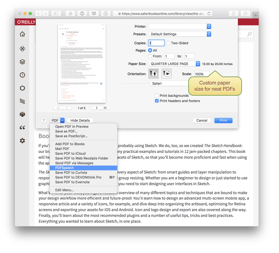 Use the Print feature in Safari with Reader view to send PDFs to any application, including PDFSpeech